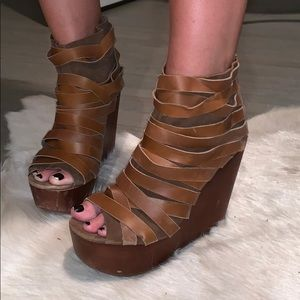 Jeffrey Campbell brown strappy booty wedges.